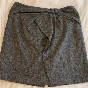 Bow front gray pencil skirt